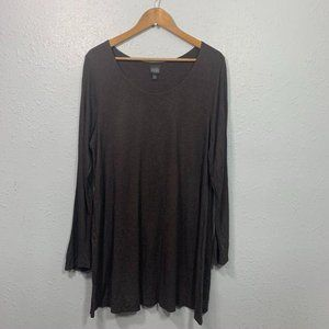 Eileen Fisher Viscose Brown Long Sleeve Tunic Top